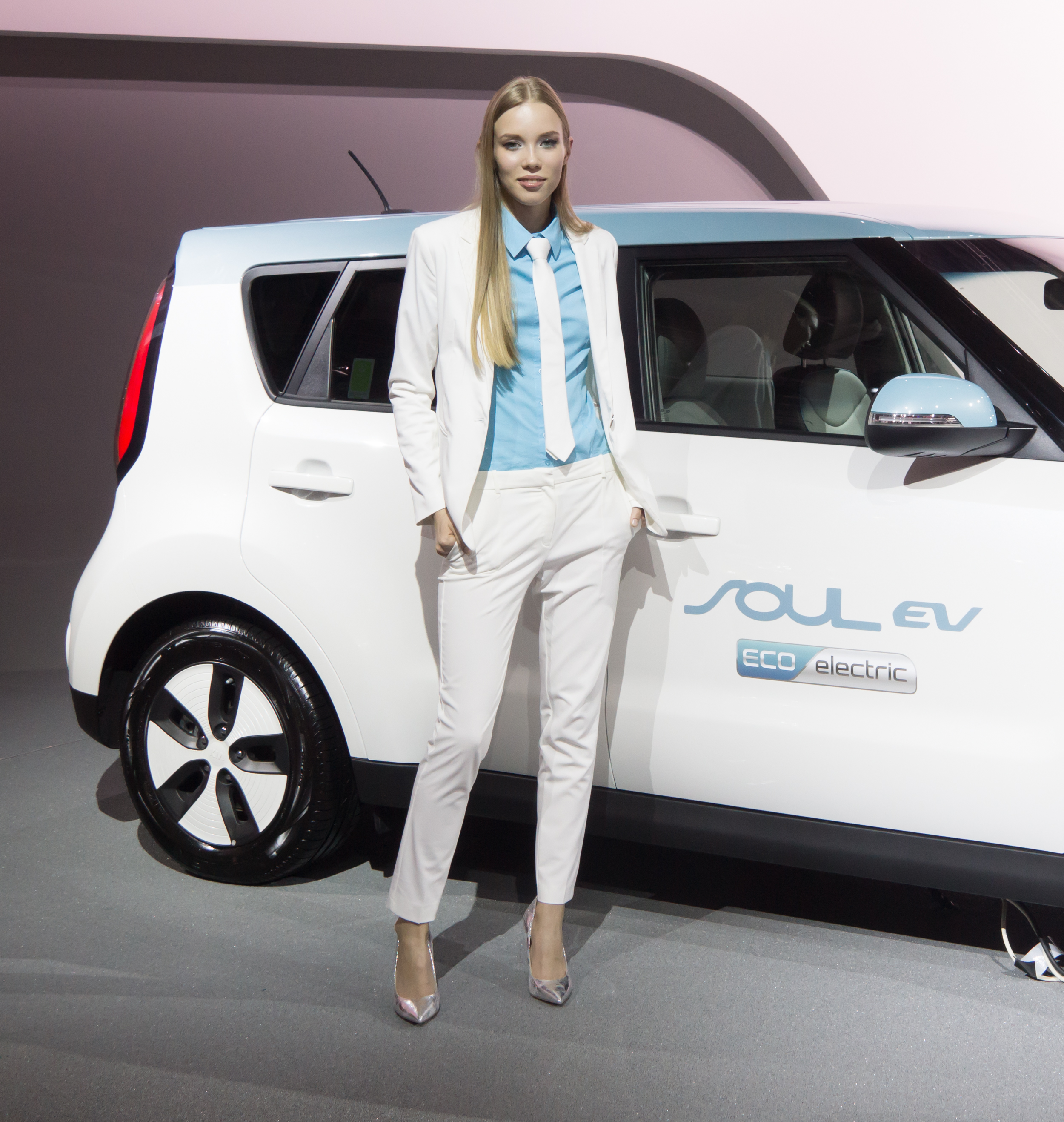 Girl and electric car