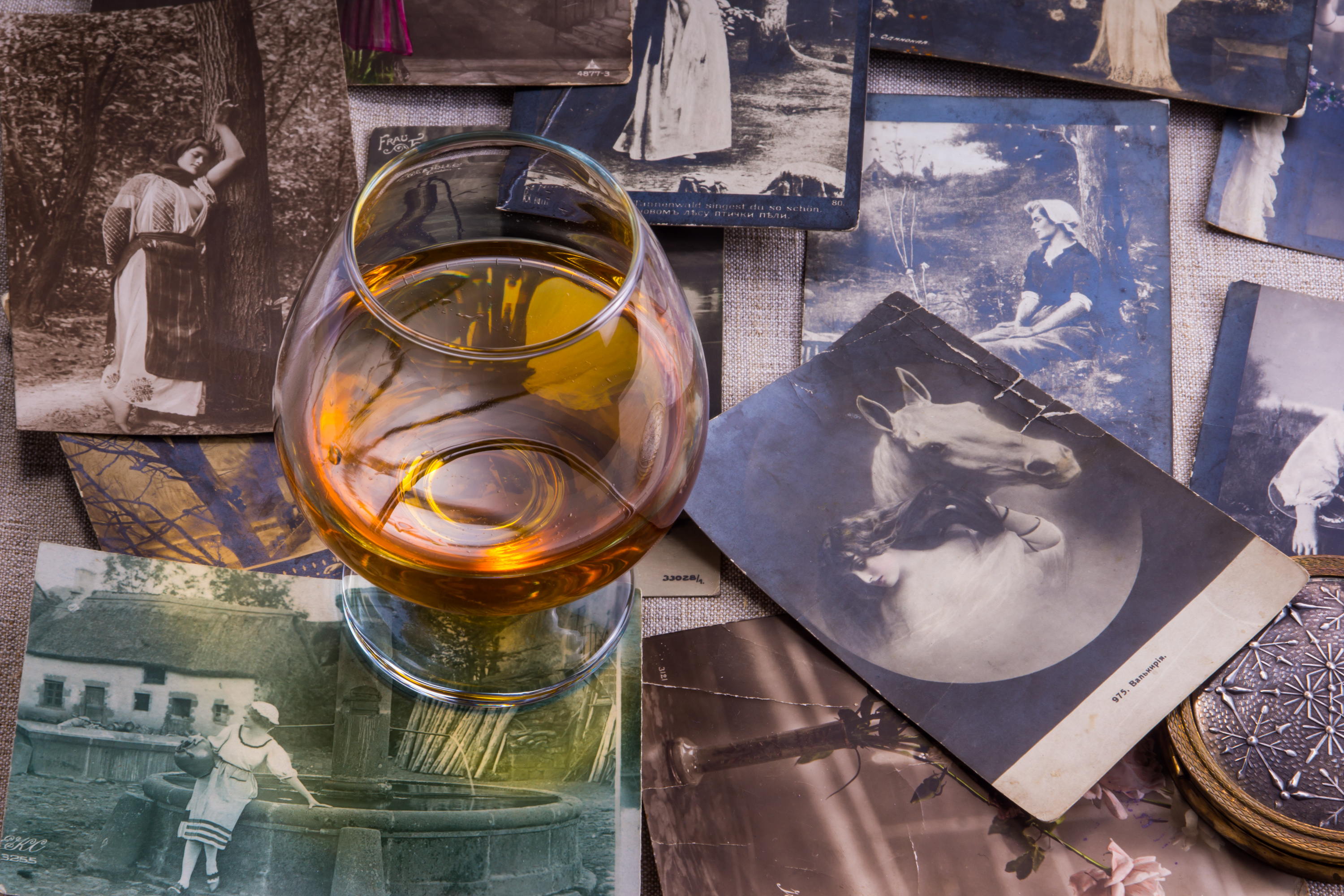 collage with cognac glass
