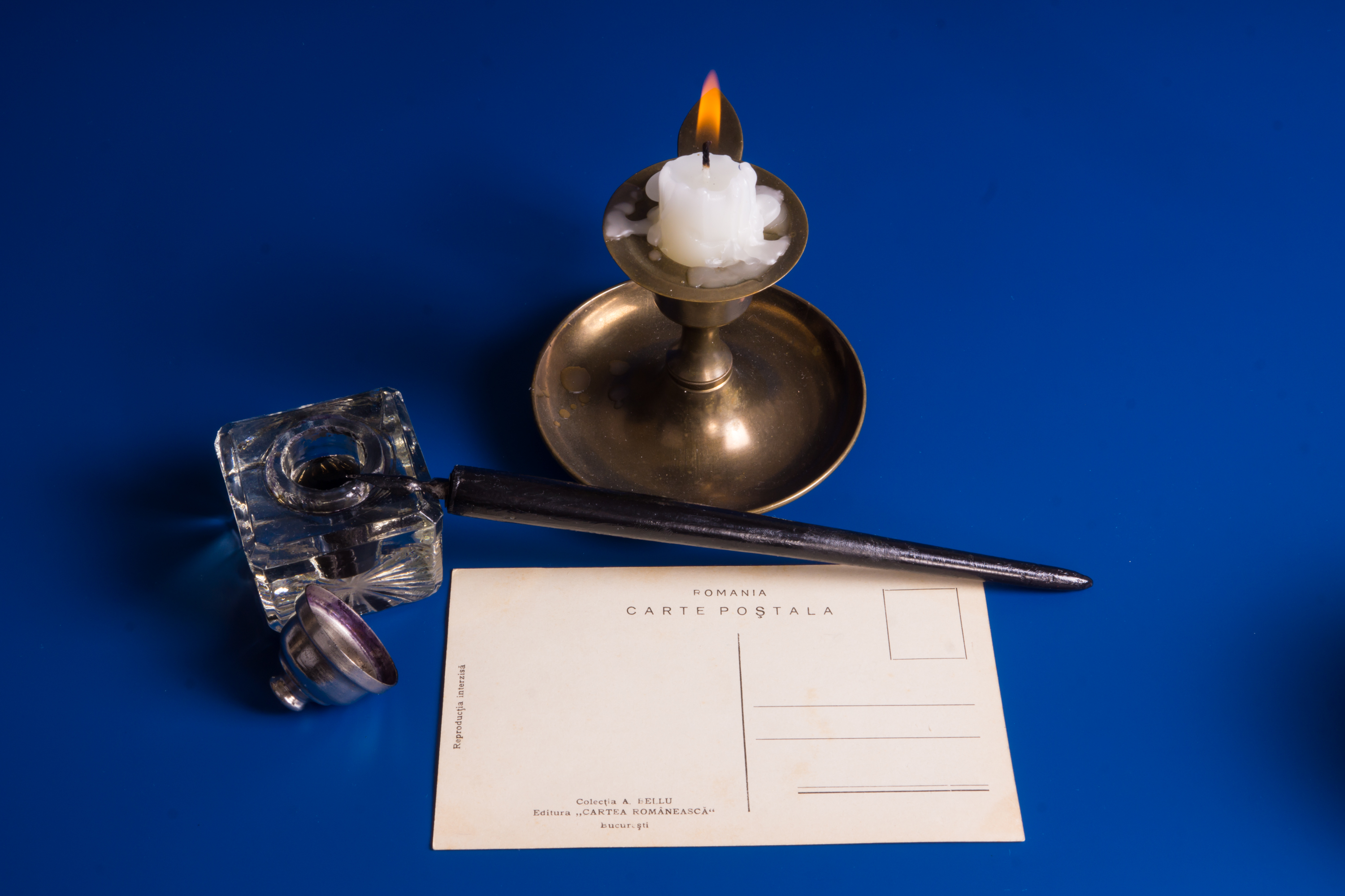 Candle and postcard