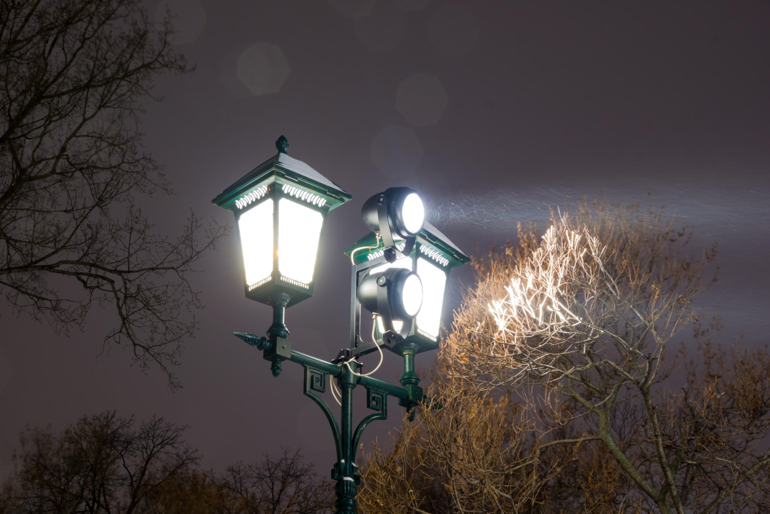 Ночь, снег, фонарь