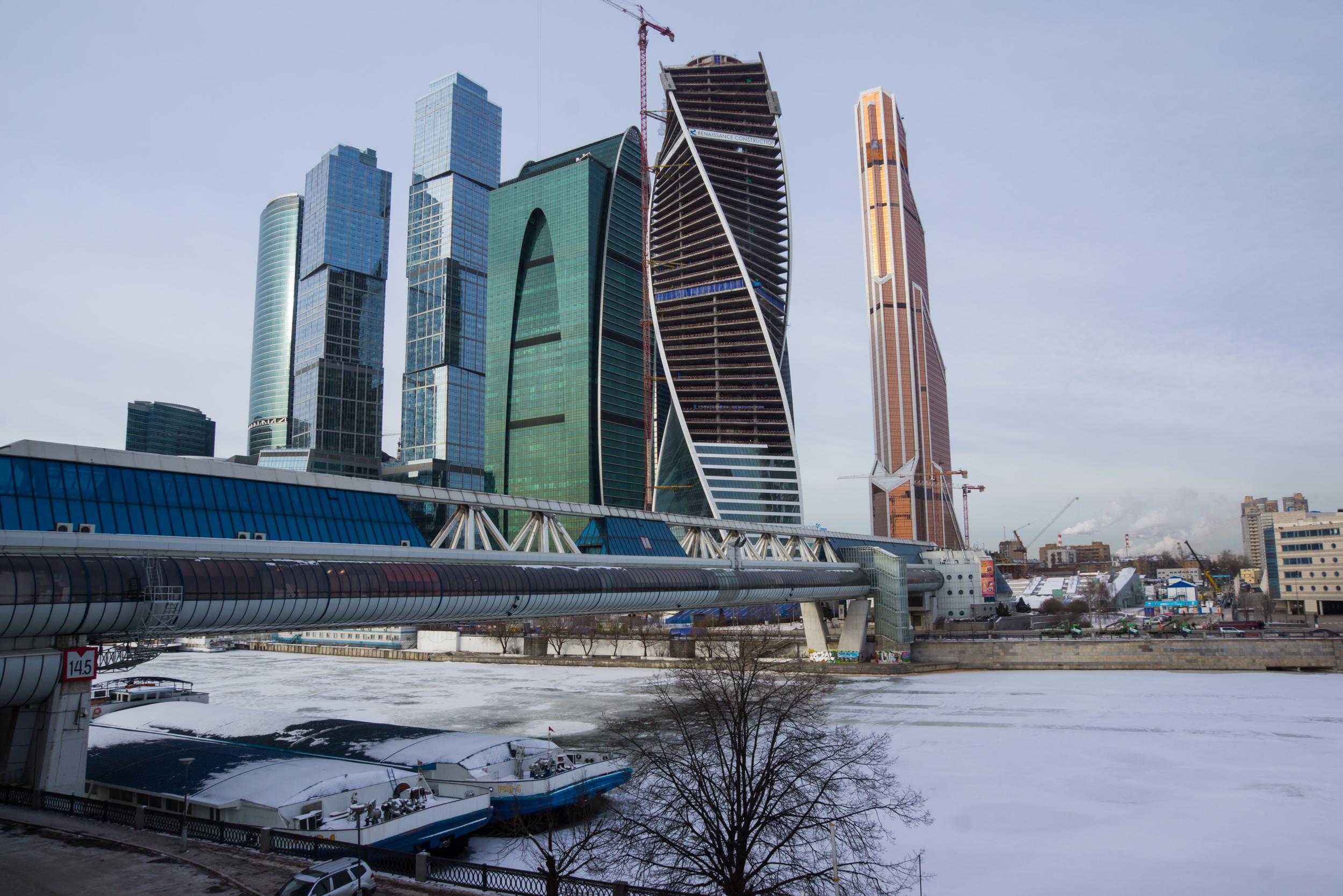 Москва река и Москва Сити зимой
