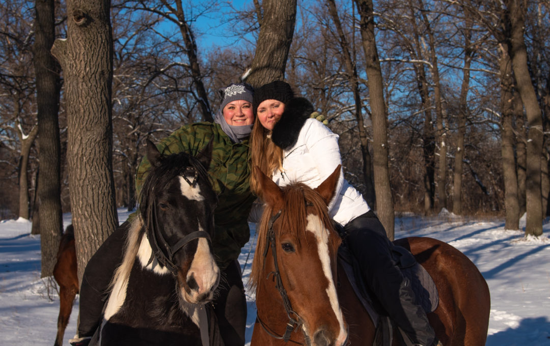 Horse walk in the winter woods – Engels Forest Park