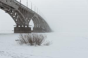 Мост в тумане — Саратовский зимний пейзаж в первые дни весны