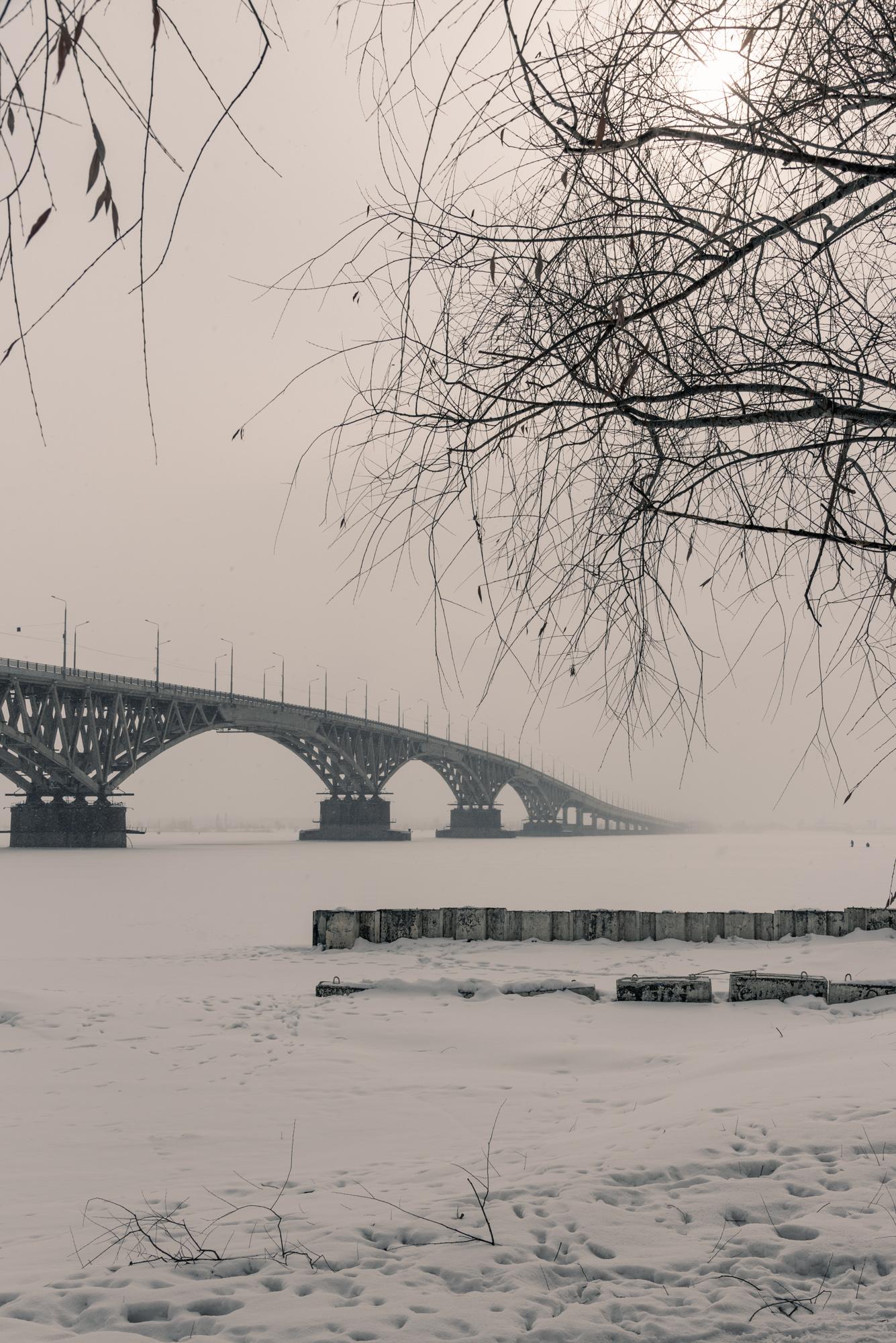 Саратовский мост в начале весны