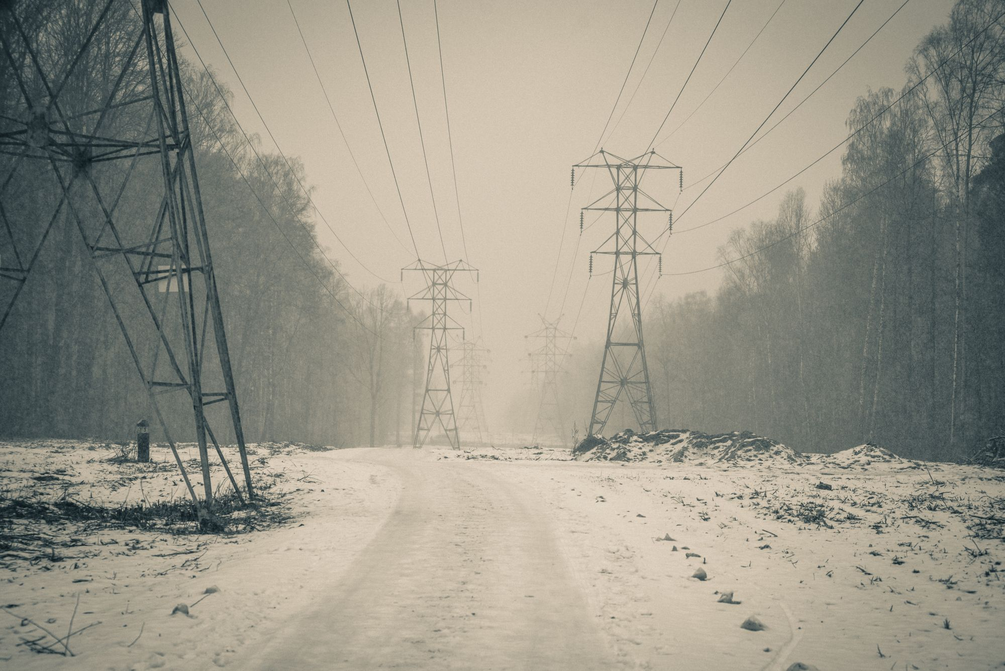 Линия электропередач в Измайловском парке