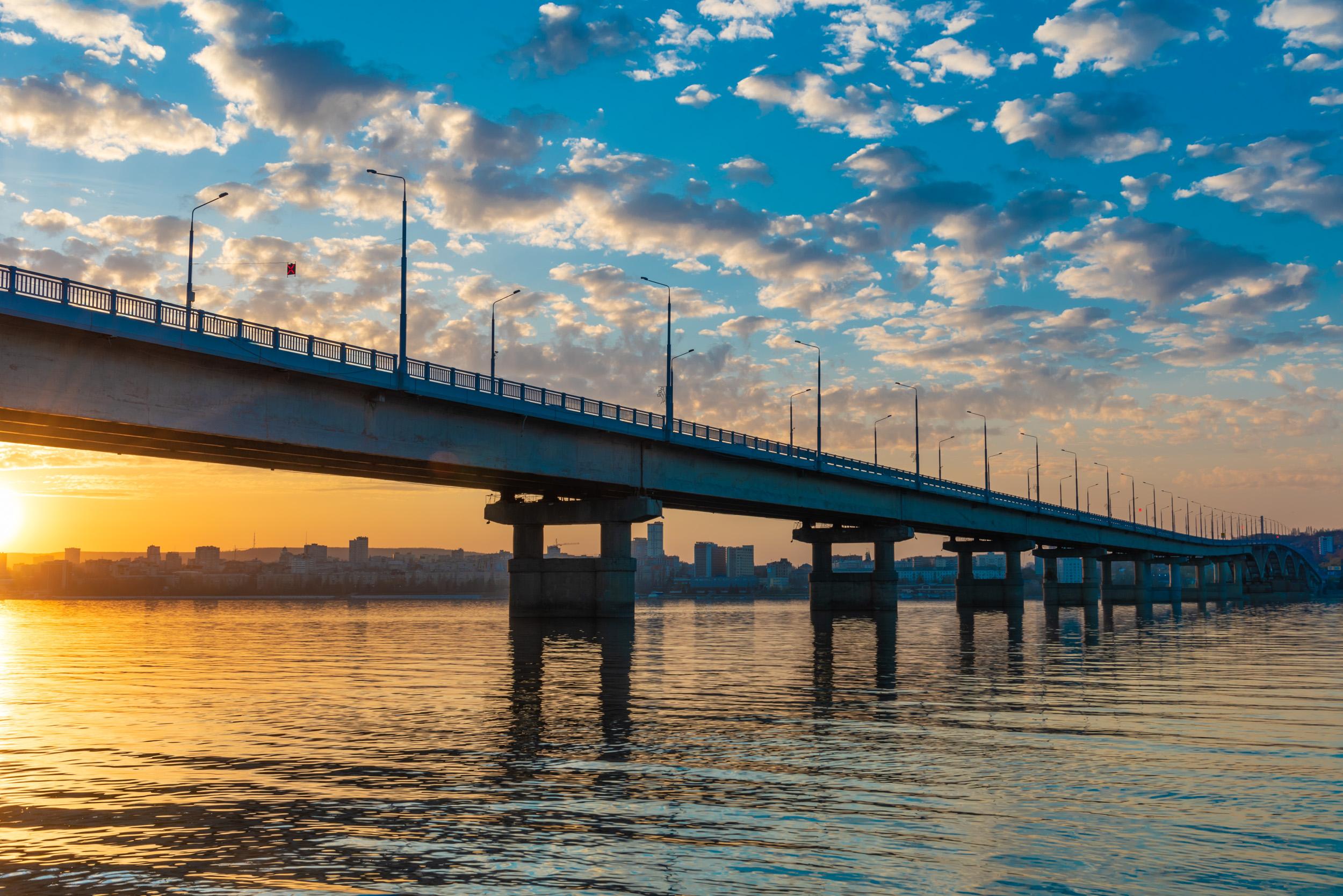 Саратовский мост на закате